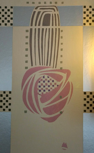 The rose stencil foil in the drawing room