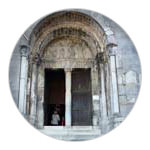 1/10 The front porch of the cathedral at Saint-Bertrand-de-Comminges