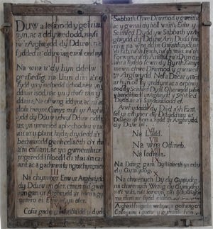 Carved ten commandments in Welsh at St. Celynin's Church at Llangelynnin