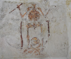 Tudor momento mori wall painting at St. Celynin's Church at Llangelynnin, discovered in 2003