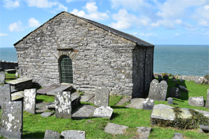 St. Celynin's Church at Llangelynnin, facing Bardsey Island
