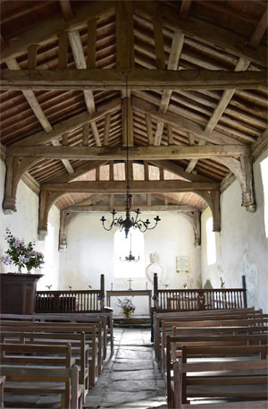 Early 16th century roof timbers of St. Celynin's Church at Llangelynnin