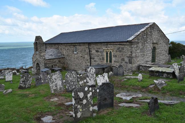 St. Celynin's Church at Llangelynnin, perched above Cardigan Bay