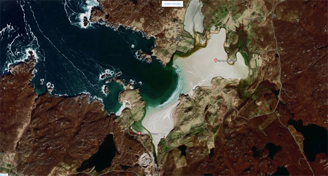 Uig Bay, Isle of Lewis, Google Maps satellite view screenshot