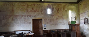 Frescoes on the north wall of the nave of St Botolph's Church, Hardham