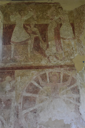 Fresco detail on the north wall of the nave of St Botolph's Church, Hardham