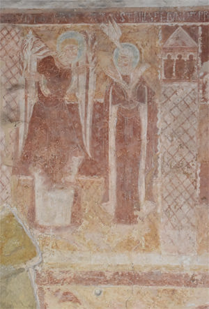 The Visitation fresco in the nave of St Botolph's Church, Hardham