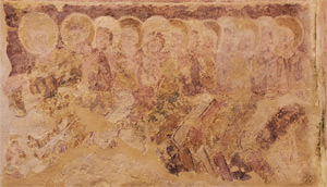 The twelve apostles fresco in St Botolph's Church, Hardham