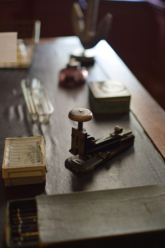 Verisimilitude with desk stapler, Mr Beale's study, Standen House