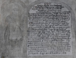 The 17th wall painting of the Ten Commandments inside the Church of St. John the Baptist at Stokesay