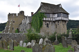 Stokesay Castle viewed from the adjacent churchyard of St. John the Baptist Church