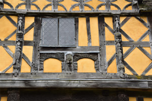 Detail of the half-timbering of Stokesay Castle's gatehouse