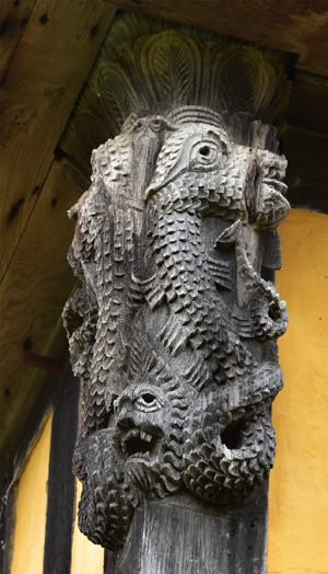 11/12 Elaborate carving on one the the gatehouse timbers at Stokesay Castle