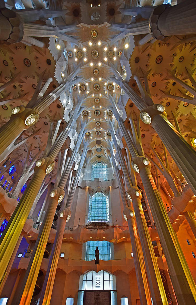 The central nave of La Sagrada Familia
