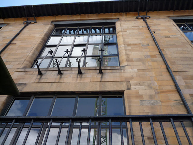 Detail of the front façade of the Glasgow School of Art