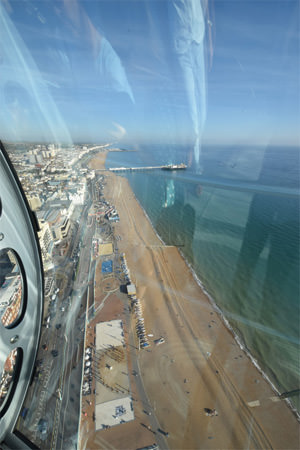 Looking east from the Brighton i360 capsule