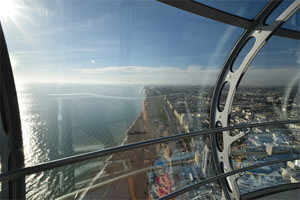 Looking west through the double-curved double-glazed laminate glass of the Brighton i360's capsule