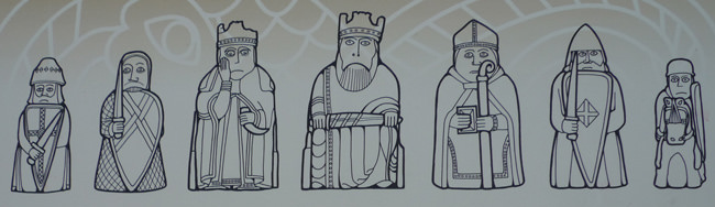 Part of the sign describing the Uig Chessmen, Uig Sands, Isle of Lewis