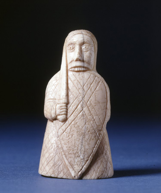 Berserker rook chess piece found on Uig Sands, Isle of Lewis, © Trustees of the British Museum