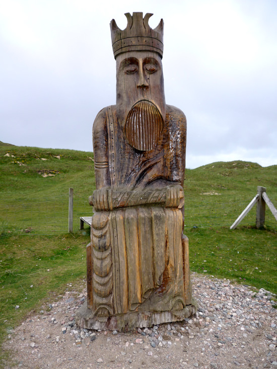 Wood carving by Stephen Hayward, Uig Sands, Isle of Lewis