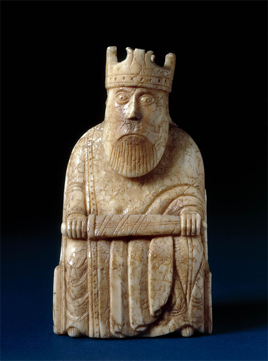 Chess piece found on Uig Sands, Isle of Lewis, © Trustees of the British Museum