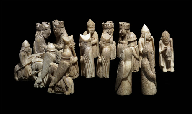Chess pieces found on Uig Sands, Isle of Lewis, © Trustees of the British Museum