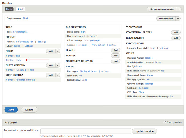 The Drupal Views edit window with the Body field indicated.