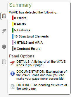 A screenshot of the WebAIM web page evaluation summary